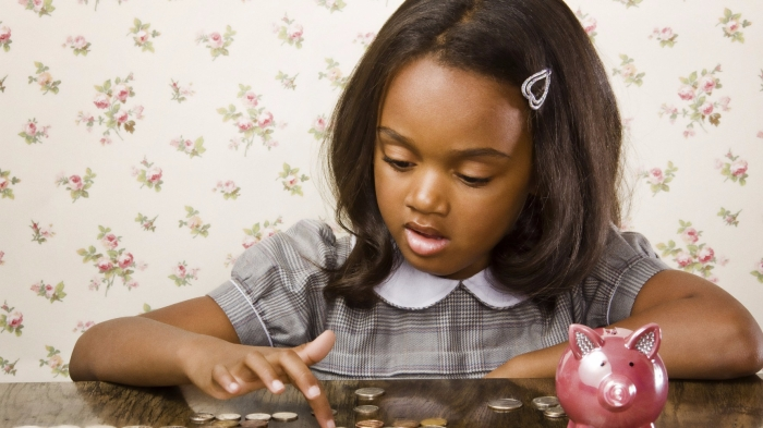 Black girl counting money